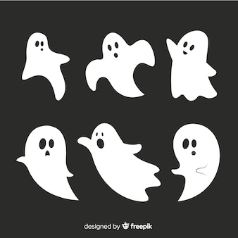 Flat halloween animated ghost collection