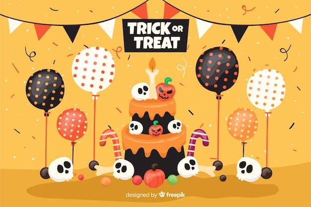 Flat halloween background birthday cake with balloons