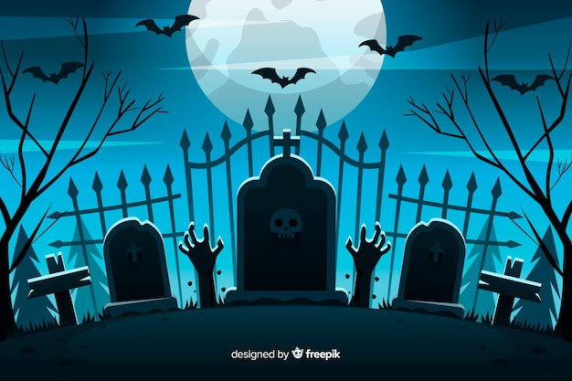 Flat halloween background cemetery gate