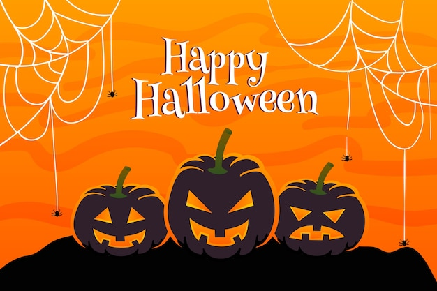 Flat halloween background cobweb and pumpkin