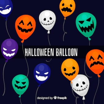 Flat halloween background with balloons