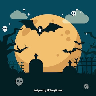 Flat halloween background with cementery