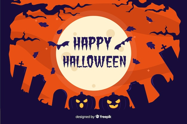 Flat halloween background with cemetery