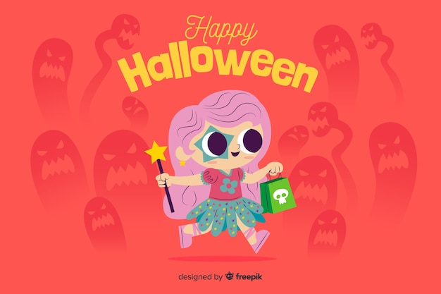 Flat halloween background with cute child