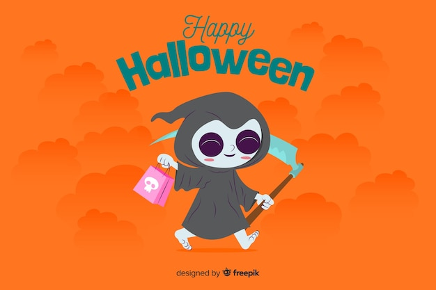 Flat halloween background with cute death costume