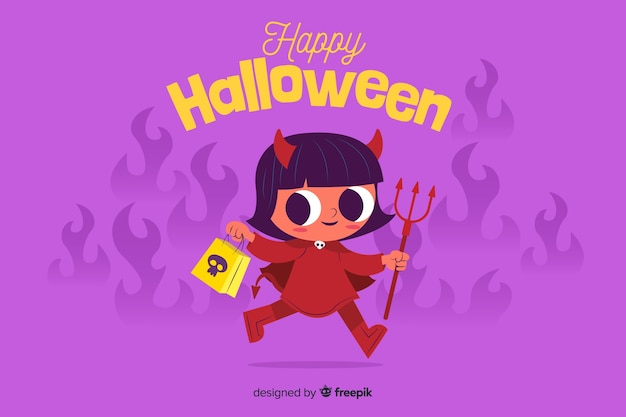Flat halloween background with cute devil