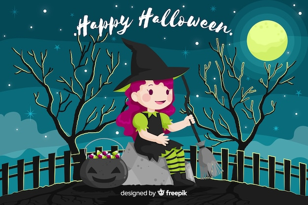 Flat halloween background with cute little witch