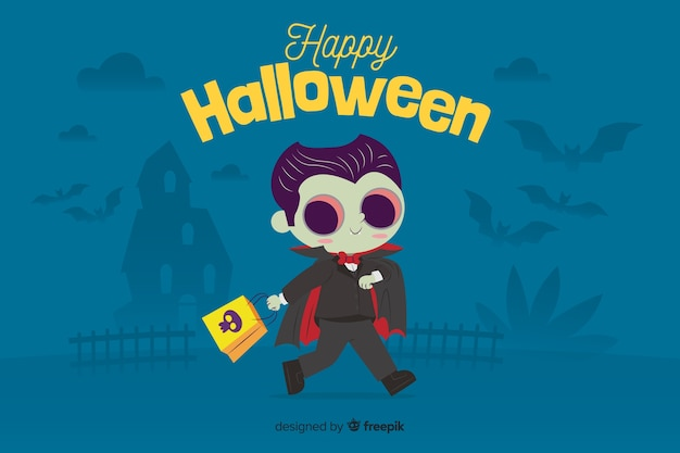 Flat halloween background with cute vampire