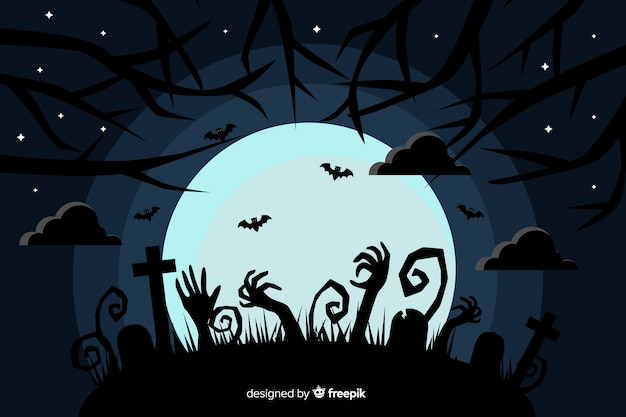 Flat halloween background with full moon