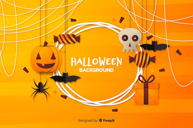 Flat halloween background with orange shades