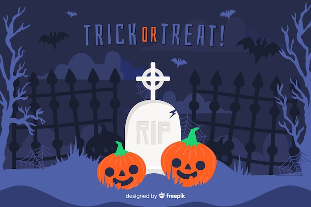 Flat halloween background with pumpkin in cemetery