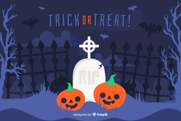Плоский хэллоуин фон с тыквой на кладбище