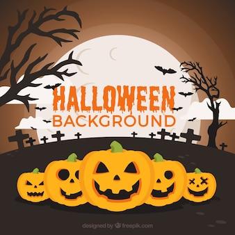Flat halloween background with pumpkins