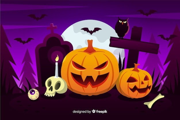 Flat halloween background with pumpkins