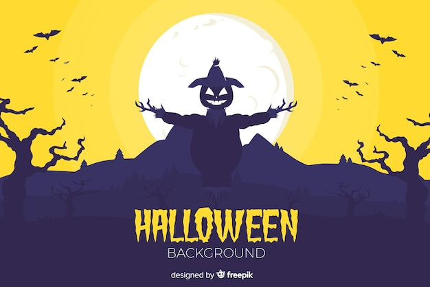 Flat halloween background with scarecrow