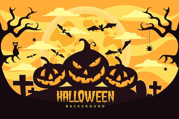 Flat halloween background with scary pumpkins
