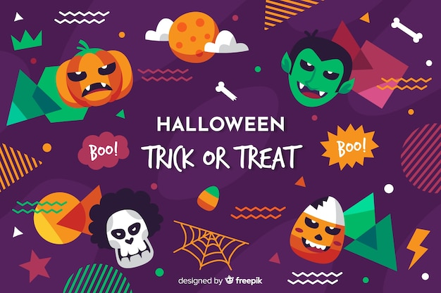 Flat halloween background with variety of spooky elements