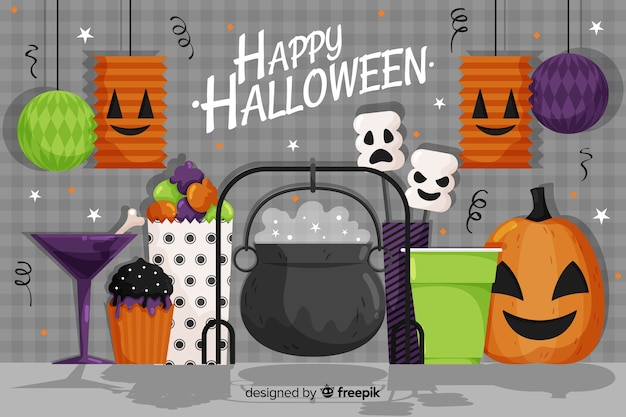 Flat halloween background with witch cauldron