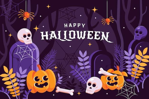 Flat halloween background