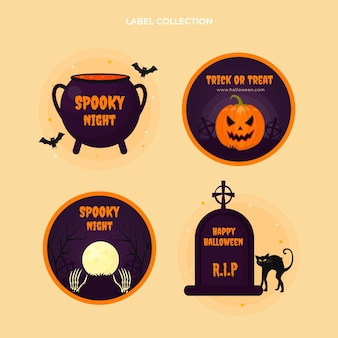 Flat halloween badges collection