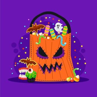 Плоская иллюстрация мешка хэллоуина