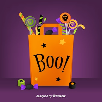 Flat halloween bag with boo! quote