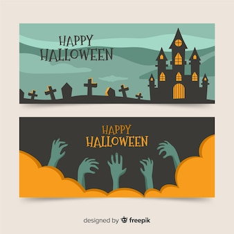 Flat halloween banners for celebration party