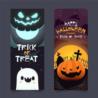Flat halloween banners concept