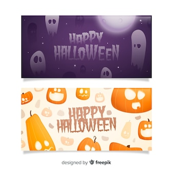 Flat halloween banners ghosts and pumpkins