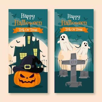 Set di banner piatti di halloween