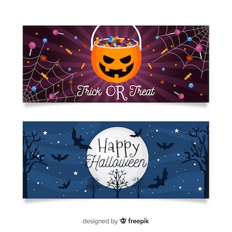 Flat halloween banners with bag of candy and moon