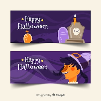 Flat halloween banners with cemetery and witch