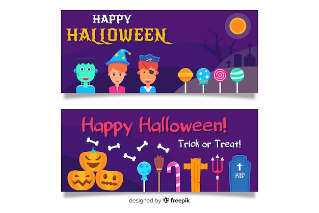 Flat halloween banners with children and lollipops