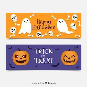 Flat halloween banners with ghosts and pumpkins