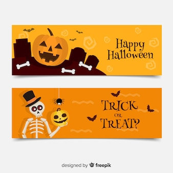 Flat halloween banners with pumpkin and skeleton