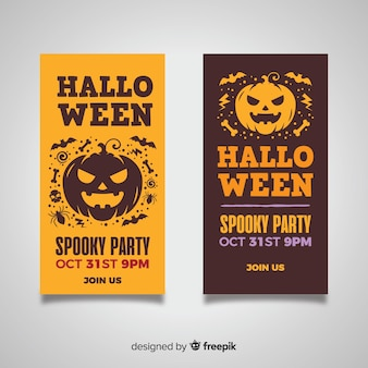 Flat halloween banners with scary pumpkin