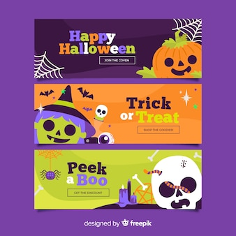 Flat halloween banners with spooky creatures
