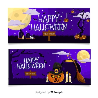 Flat halloween banners with spooky witchcraft Free Vector