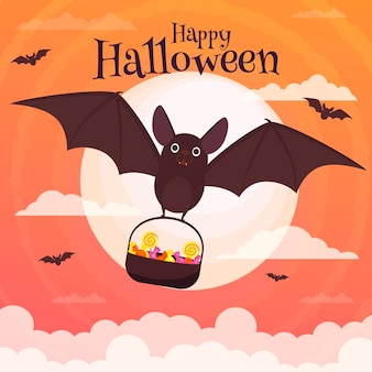 Flat halloween bat illustration