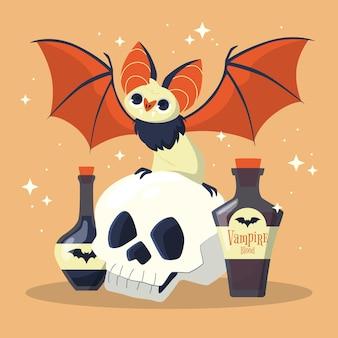 Flat halloween bat illustration