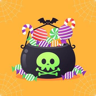 Flat halloween black bag with skull