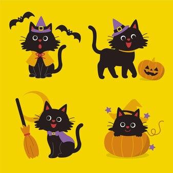 플랫 할로윈 검은 고양이 컬렉션