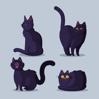 Плоская коллекция черных кошек хэллоуин