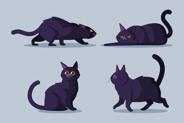 Flat halloween black cats collection