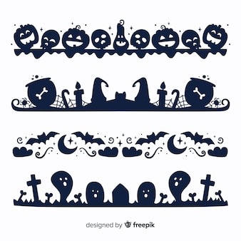 Flat halloween border on black and white collection
