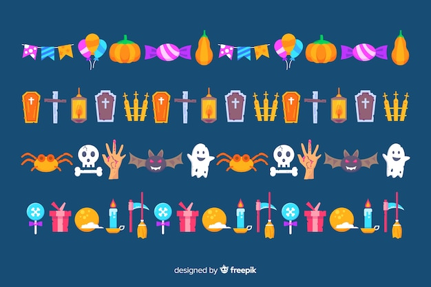 Flat halloween border collection on blue background