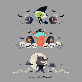 Flat halloween border collection on grey background