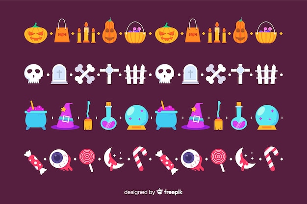 Плоский хэллоуин границы коллекции на фиолетовом фоне