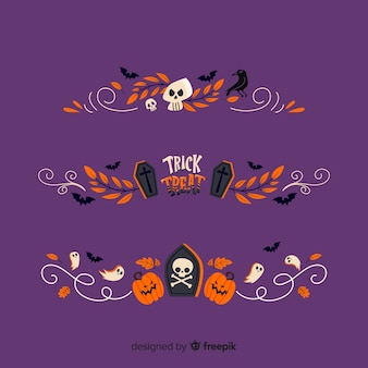 Flat halloween border collection on purple background