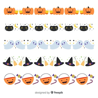 Flat halloween border collection on white background